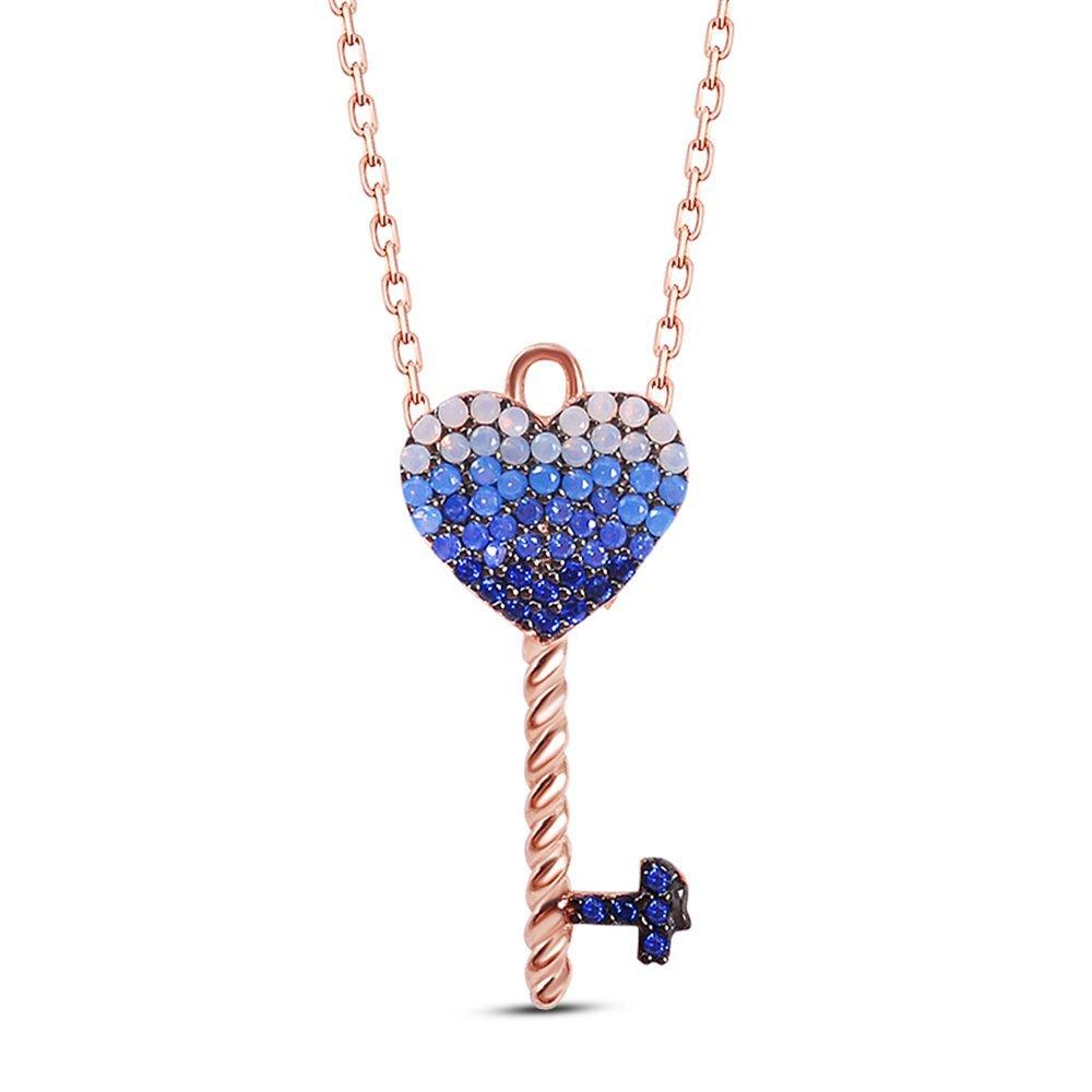Mavi Zirkon Taşlı Kalbimin Anahtarı Tasarım 925 Ayar Gümüş Bayan Kolye