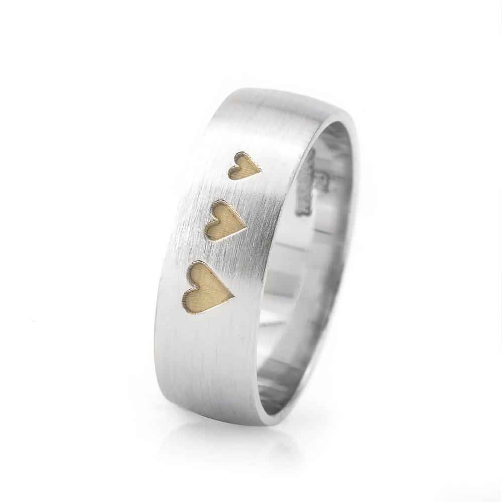 Üç Kalp Tasarım 925 Ayar Gümüş Erkek Alyans