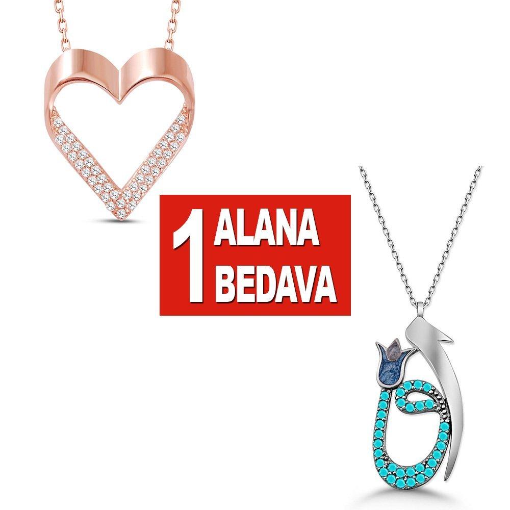 925 Ayar Gümüş Kalp ve Elif Vav Kolye