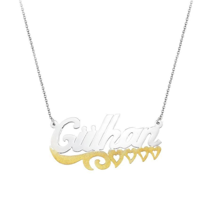 Dört Kalp Tasarım Kişiye Özel İsim Yazılı 925 Ayar Gümüş Bayan Kolye