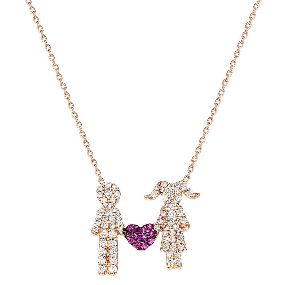 Zirkon Taşlı Kalpli Çift Tasarım 925 Ayar Gümüş Bayan Kolye