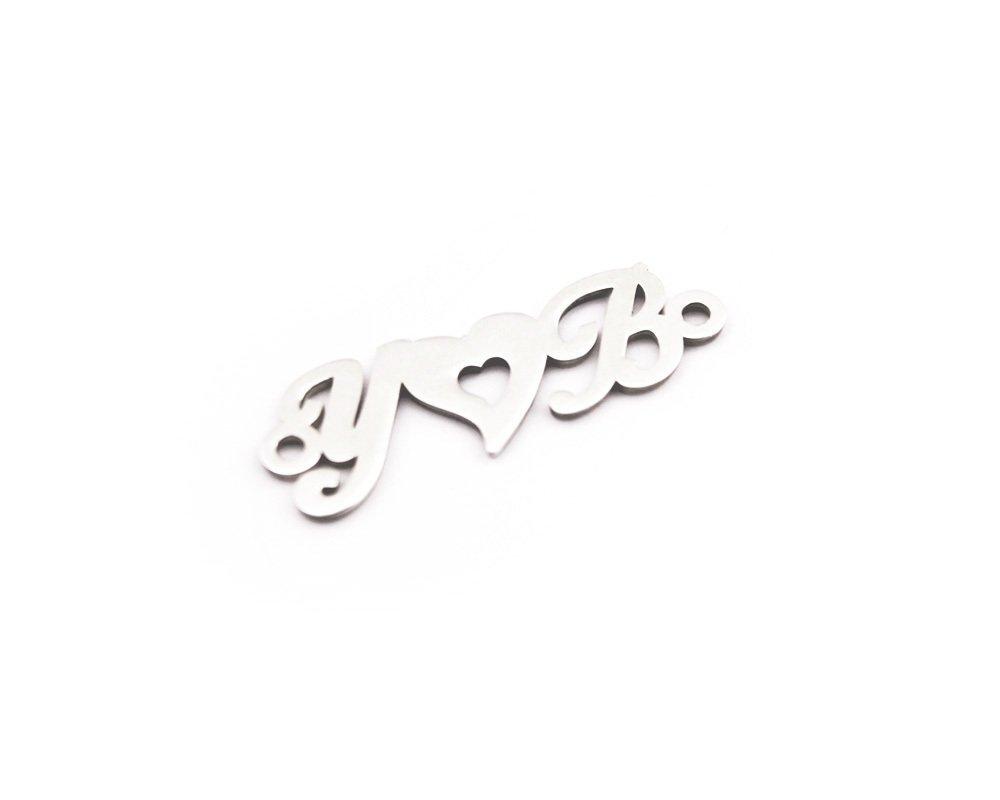 Kişiye Özel Harfli Kalp Motifli 925 Ayar Gümüş Püskül Ucu