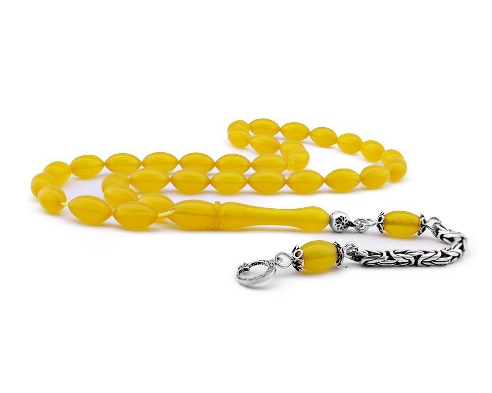 925 Ayar Gümüş Kamçılı Ayyıldız Püsküllü Sarı Sıkma Kehribar Tesbih
