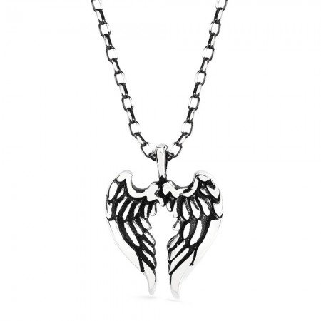 Çift Kanat Tasarım 925 Ayar Gümüş Erkek Kolye - Thumbnail