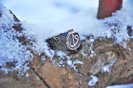 925 Ayar Gümüş Kapaklı Elif Vav Yüzük - Thumbnail