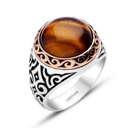 925 Ayar Gümüş Kaplan Gözü Doğaltaş Model Yüzük - Thumbnail