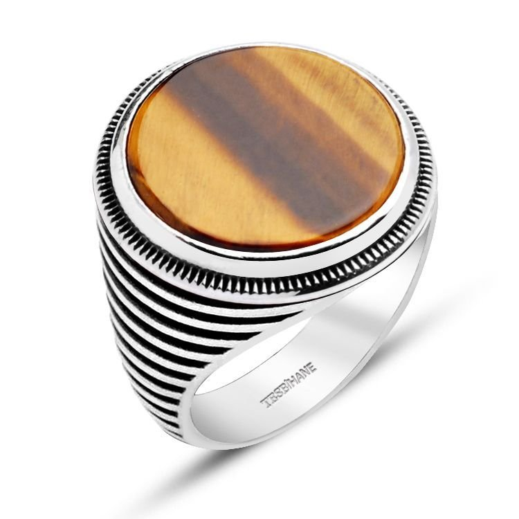 925 Ayar Gümüş Kaplan Gözü Taşlı Oval Model Yüzük