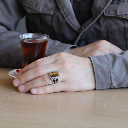 Çapa İşlemeli Kahverengi Kaplangözü Taşlı 925 Ayar Gümüş Erkek Yüzük - Thumbnail