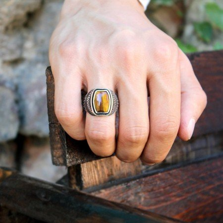 Güverse Desenli Kaplangözü Taşlı 925 Ayar Gümüş Erkek Yüzük - Thumbnail