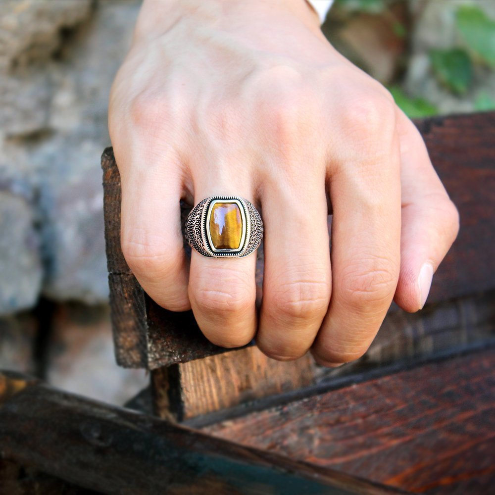 Güverse Desenli Kaplangözü Taşlı 925 Ayar Gümüş Erkek Yüzük