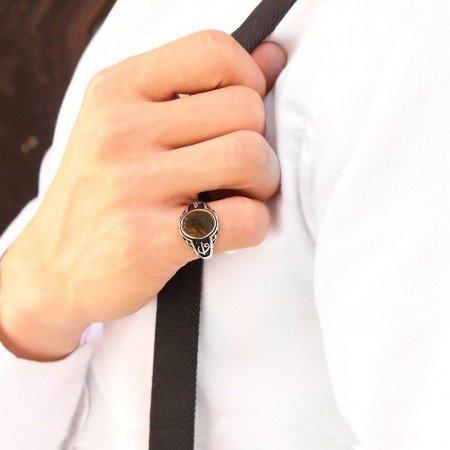 Tuğra İşlemeli Oval Kaplangözü Taşlı 925 Ayar Gümüş Erkek Yüzük - Thumbnail