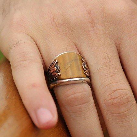 925 Ayar Gümüş Kaplangözü Taşlı Armalı Yüzük - Thumbnail