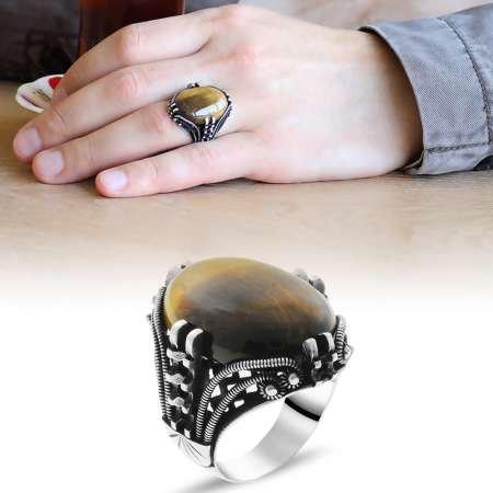 Tırnak Tasarım Kaplangözü Taşlı 925 Ayar Gümüş Erkek Yüzük - Thumbnail
