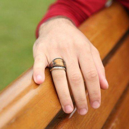 925 Ayar Gümüş Kaplangözü ve Zirkon Taşlı Özel Model Yüzük - Thumbnail