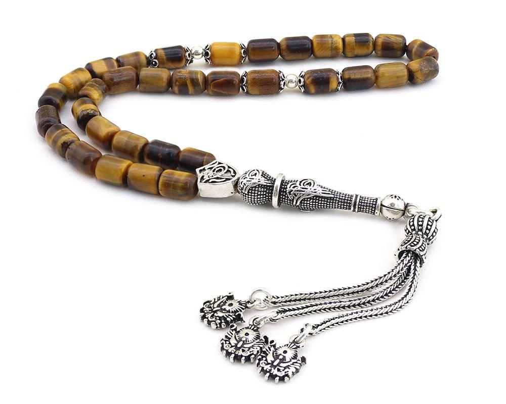 925 Ayar Gümüş Kapsül Kesim Kaplan Gözü Tesbih