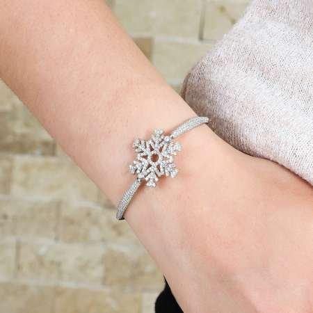 Zirkon Taşlı Kar Tanesi Tasarım 925 Ayar Gümüş Bayan Bileklik - Thumbnail