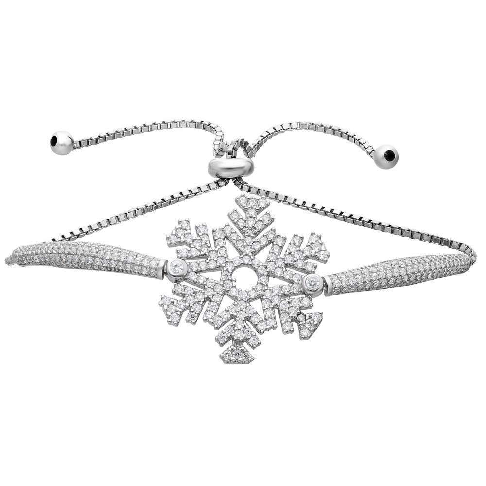 Zirkon Taşlı Kar Tanesi Tasarım 925 Ayar Gümüş Bayan Bileklik