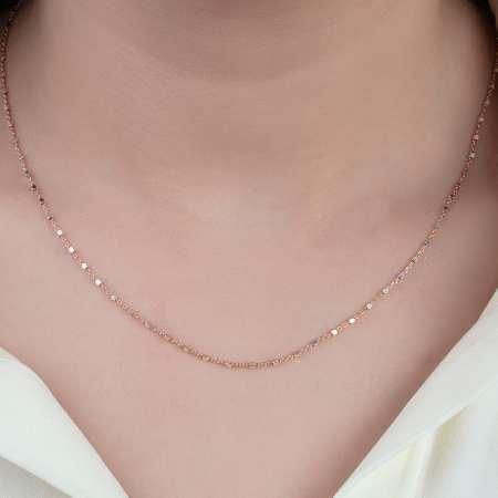 925 Ayar Gümüş Kare Toplu Bayan Zincir Kolye - Thumbnail