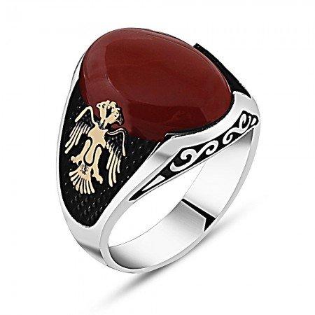 925 Ayar Gümüş Kartal Detaylı Kırmızı Akik Taşlı Yüzük - Thumbnail