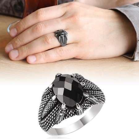 Kartal Pençesi İşlemeli Siyah Zirkon Taşlı 925 Ayar Gümüş Erkek Yüzük - Thumbnail