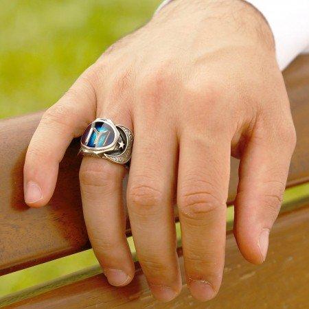 925 Ayar Gümüş Kayı Boyu Model Mineli Yüzük - Thumbnail