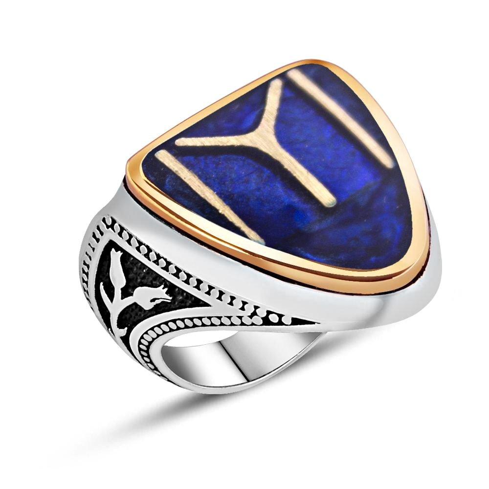 925 Ayar Gümüş Kayı Boyu Model Mineli Zihgir Yüzüğü