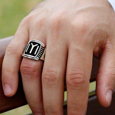 Tuğra İşlemeli Kayı Boyu Tasarım 925 Ayar Gümüş Erkek Yüzük - Thumbnail