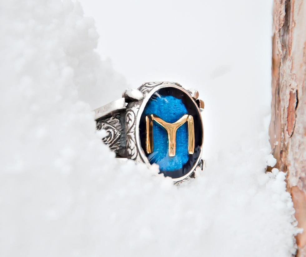 925 Ayar Gümüş Kayı Boyu Sancağı Yüzüğü