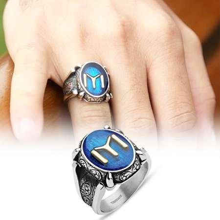 925 Ayar Gümüş Kayı Boyu Sancağı Yüzüğü - Thumbnail