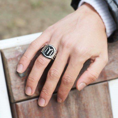925 Ayar Gümüş Kayı Boyu ve Balta Desenli Yüzük - Thumbnail
