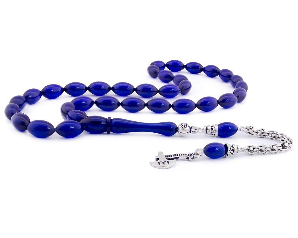 925 Ayar Gümüş Kayı Püsküllü Mavi Sıkma Kehribar Tesbih
