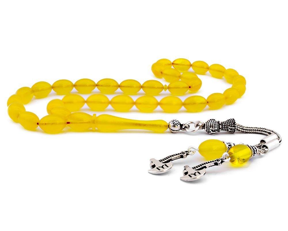 925 Ayar Gümüş Kayı Püsküllü Sarı Sıkma Kehribar Tesbih