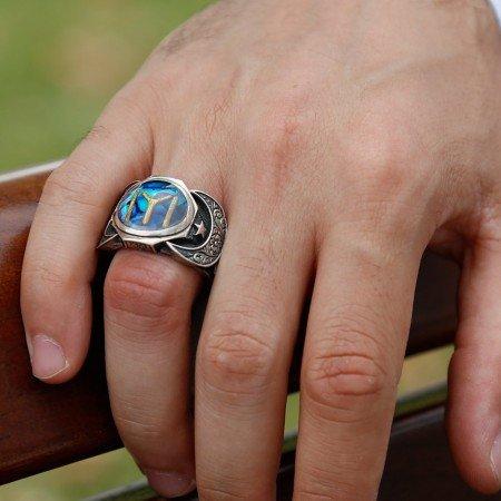 925 Ayar Gümüş Kayıboyu Model Sedefli Yüzük - Thumbnail