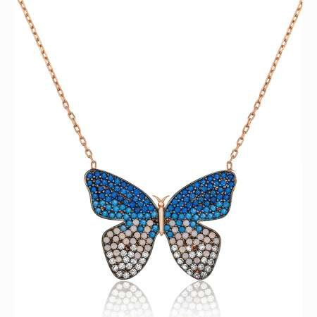 Mavi-Beyaz Zirkon Taşlı Kelebek Tasarım 925 Ayar Gümüş Kolye - Thumbnail