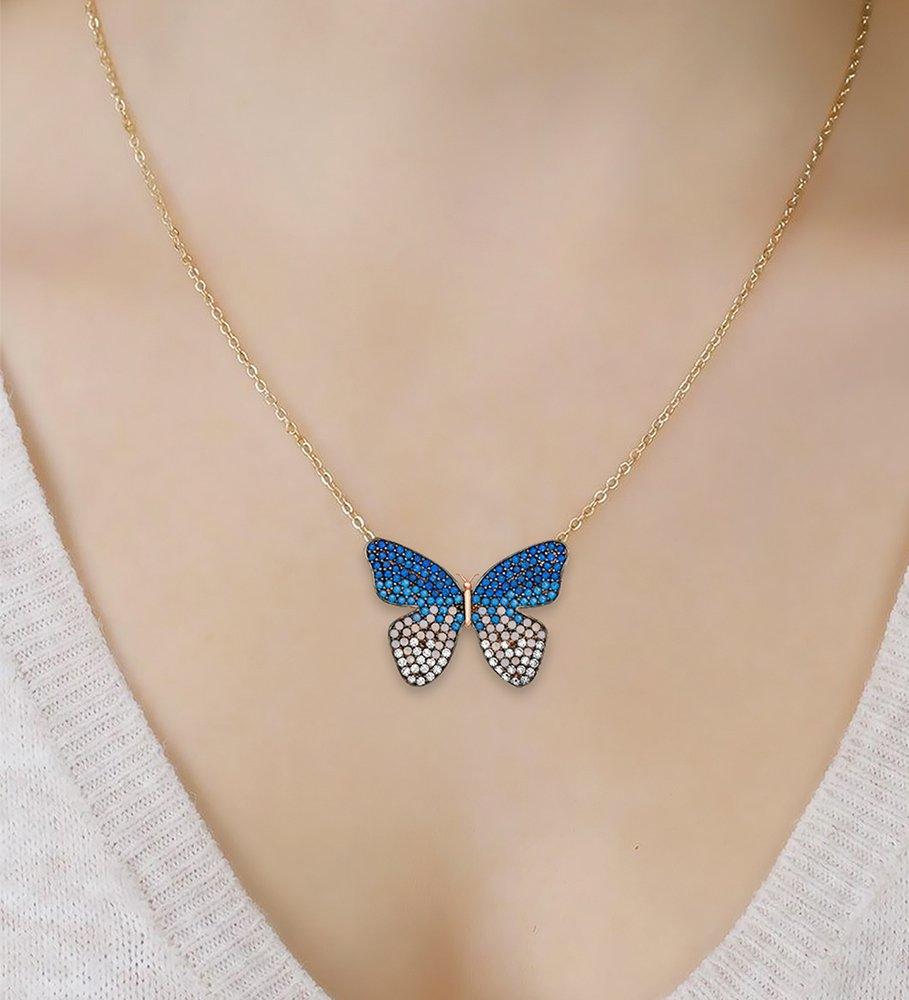 Mavi-Beyaz Zirkon Taşlı Kelebek Tasarım 925 Ayar Gümüş Kolye