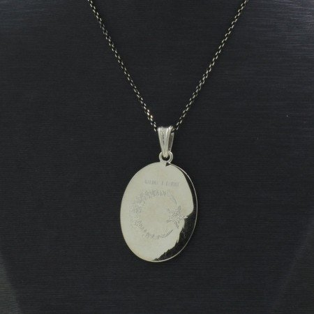 925 Ayar Gümüş Kelime-i Tevhit Yazılı Çift Taraflı Bayan Kolye (Model-98) - Thumbnail