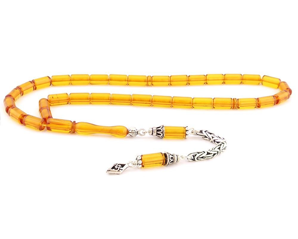 925 Ayar Gümüş Kesme Kesim Sarı Sıkma Kehribar Tesbih
