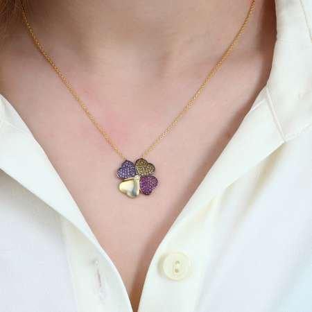 Renkli Zirkon Taşlı Kırçiçeği Tasarım 925 Ayar Gümüş Bayan Kolye - Thumbnail
