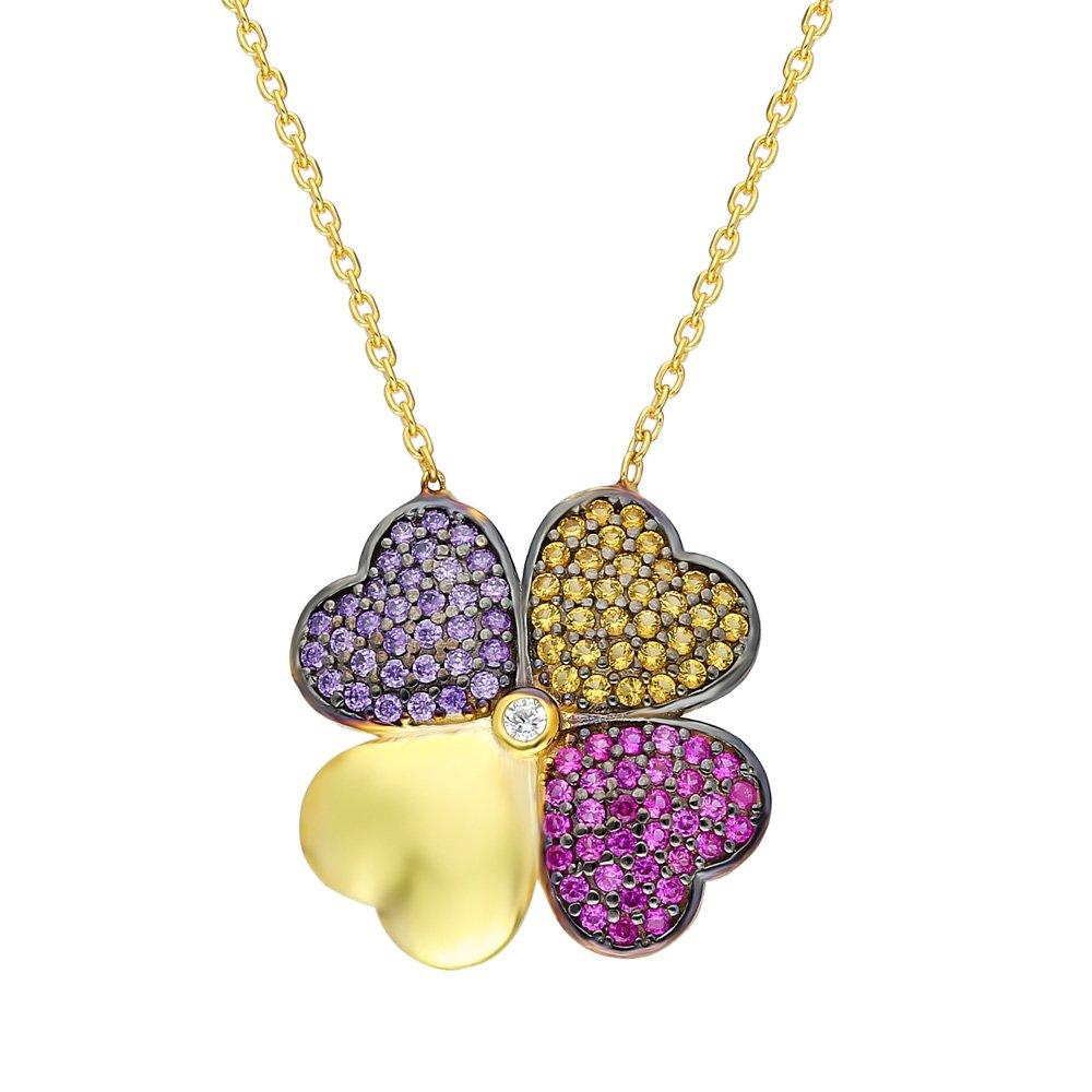 Renkli Zirkon Taşlı Kırçiçeği Tasarım 925 Ayar Gümüş Bayan Kolye