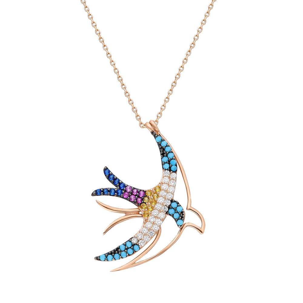 Renkli Zirkon Taşlı Çift Kırlangıç Tasarım 925 Ayar Gümüş Bayan Kolye