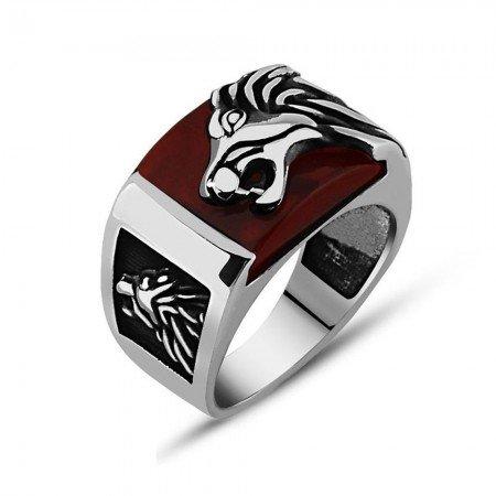 925 Ayar Gümüş Kırmızı Akik Taşı Üzerine Aslan Figürlü Yüzük - Thumbnail