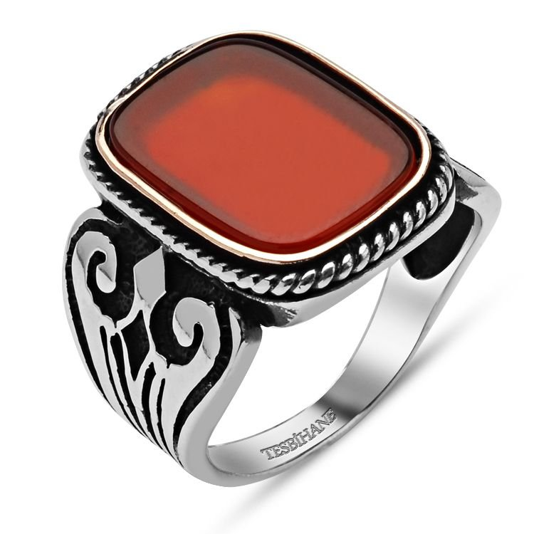 925 Ayar Gümüş Kırmızı Akik Taşlı Kare Yüzük