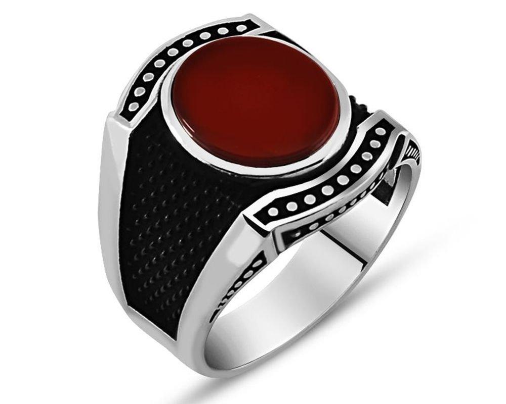 925 Ayar Gümüş Kırmızı Akik Taşlı Yüzük