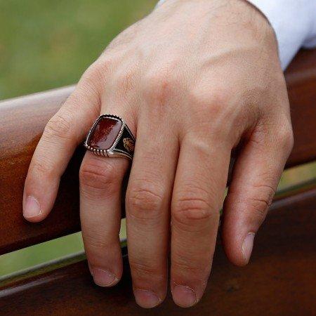 925 Ayar Gümüş Kırmızı Akik Taşlı Yüzük (model 10) - Thumbnail