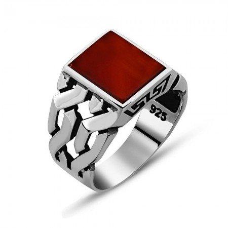 Zincir Tasarım Kırmızı Akik Taşlı 925 Ayar Gümüş Erkek Yüzük - Thumbnail