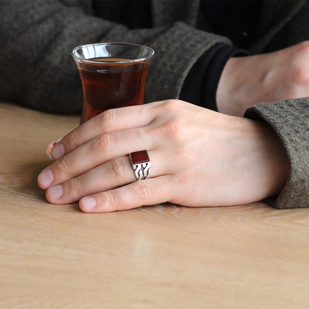 Zincir Tasarım Kırmızı Akik Taşlı 925 Ayar Gümüş Erkek Yüzük