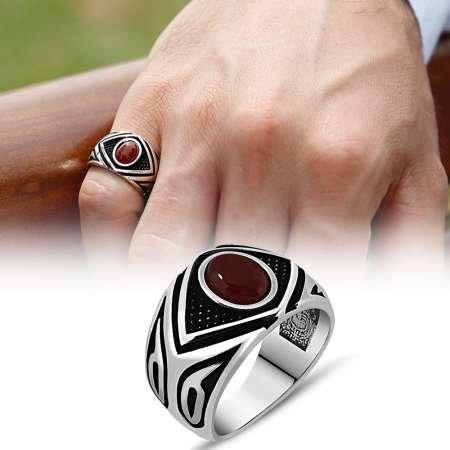 Mikron Taş İşlemeli Kırmızı Akik Taşlı 925 Ayar Gümüş Erkek Yüzük - Thumbnail