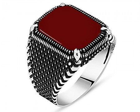 Nokta İşlemeli Kırmızı Akik Taşlı 925 Ayar Gümüş Erkek Yüzük - Thumbnail