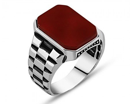 925 Ayar Gümüş Kırmızı Akik Taşlı Yüzük (model 2) - Thumbnail