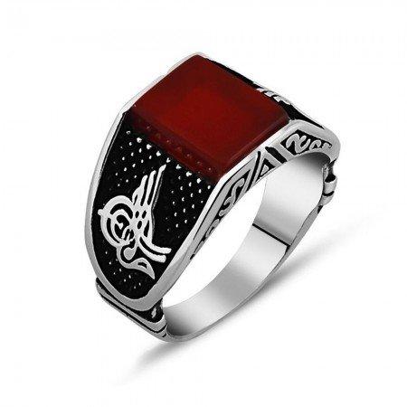 Tuğra İşlemeli Kırmızı Akik Taşlı 925 Ayar Gümüş Erkek Yüzük - Thumbnail